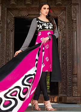 Pink Tussar Silk Churidar Suit