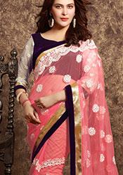 Pinkish Peach Net Embroidered Saree