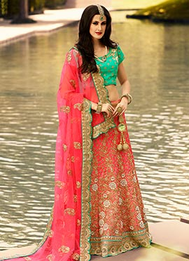 Pinkish Red Art Silk Lehenga Choli