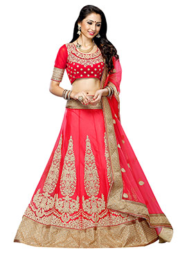 Pinkish Red Net A Line Lehenga Choli