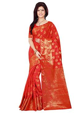 Pinkish Red Tussar Silk Zari Weaved Saree