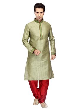 Pista Green Art Dupion Silk Kurta Pyjama