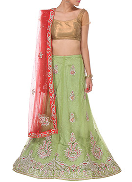 Pista Green Embellished A Line Lehenga Choli