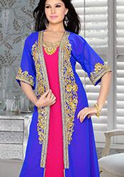 Plus Size Blue N Pink Georgette Fustan Dress