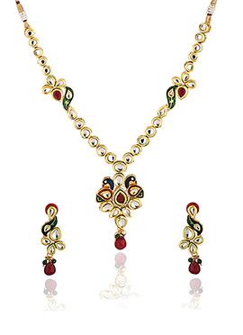 Polki Studded White Necklace Set