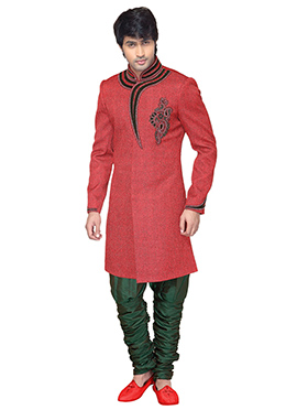 Poppy Red Breeches style Sherwani