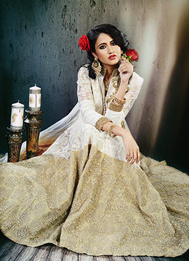Poshaac Off White N Gold Color Anarkali Suit