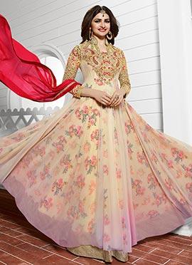 Prachi Desai Cream Anarkali Suit