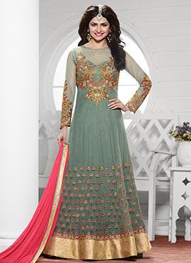 Prachi Desai Grey Anarkali Suit