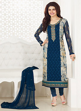 Prachi Desai Navy Blue N Beige Straight Suit