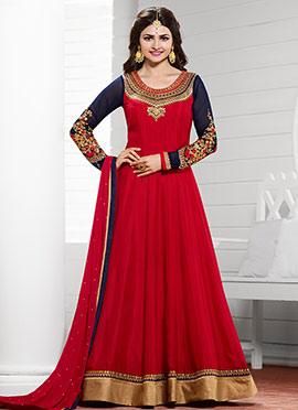 Prachi Desai Red Anarkali Suit