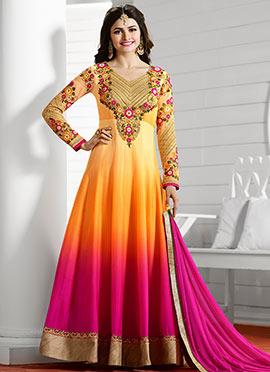 Prachi Desai Yellow N Pink Anarkali Suit