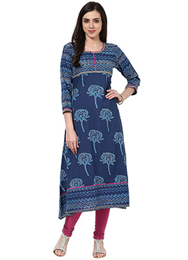 Prakhya Denim Blue Printed Cotton Kurti