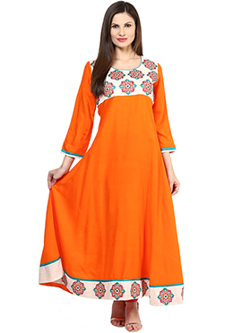 Prakhya Orange Anarkali Kurti