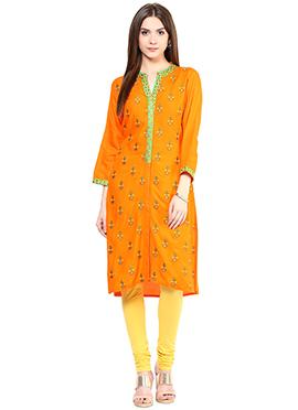 Prakhya Orange Embroidered Kurti