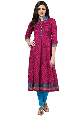 Prakhya Purple Cotton Anarkali Kurti