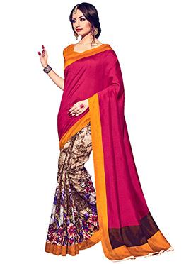 Printed Bhagalpuri Silk Half N Half Saree