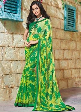 Printed Green N Yellow Saree