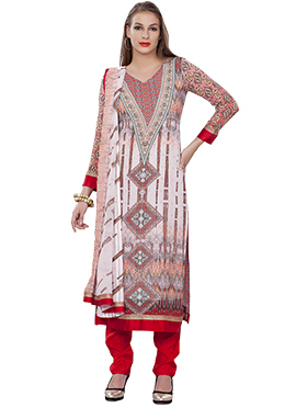 Printed Multicolored Foliage Design Straight Suit