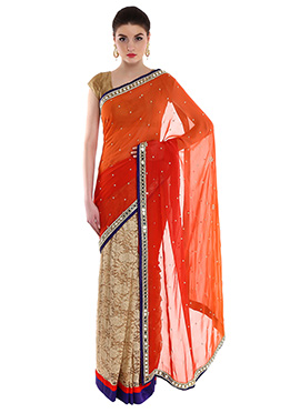 Priti Sahni Beige N Orange Half N Half Saree