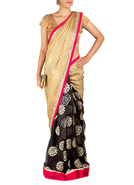 Priti Sahni Black N Golden Half N Half Saree