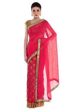 Priti Sahni Dark Pink Half N Half Saree
