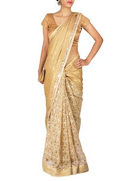 Priti Sahni Golden Color Half N Half Saree