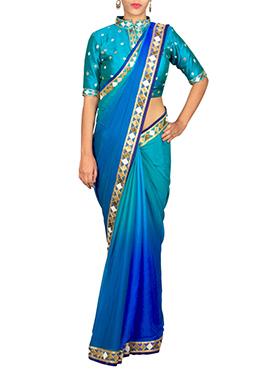 Priti Sahni Ombre Blue Saree