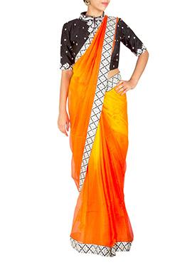 Priti Sahni Ombre Orange Saree