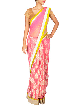 Priti Sahni Pink Half N Half Saree