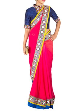 Priti Sahni Pink Red Ombre Saree