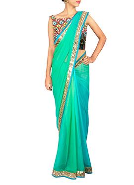 Priti Sahni Turquoise Green Saree