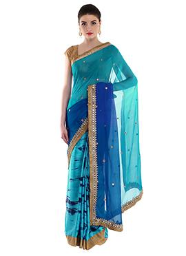 Priti Sahni Turquoise N Blue Half N Half Saree