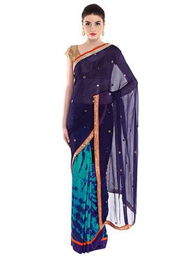 Priti Sahni Turquoise N Violet Half N Half Saree