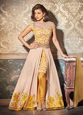 Priyanka Chopra Beige Churidar Suit