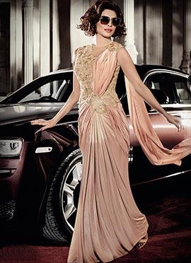 Priyanka Chopra Beige Saree Gown
