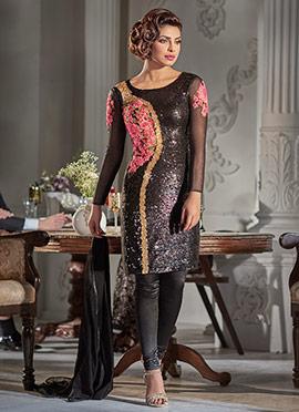 Priyanka Chopra Black Churidar Suit