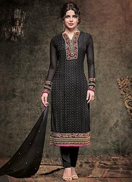 Priyanka Chopra Black Embroidered Straight Suit