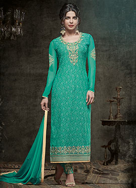 Priyanka Chopra Green Embroidered Straight Suit