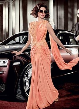 Priyanka Chopra Peach Saree Gown