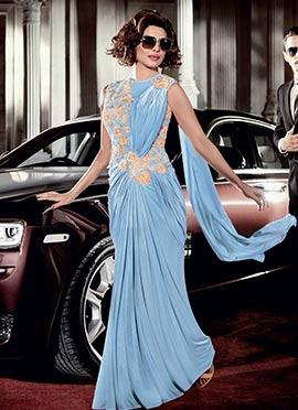 Priyanka Chopra Sky Blue Saree Gown