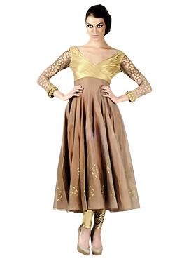 Priyanka Kakkar Brown N Gold Anarkali Suit