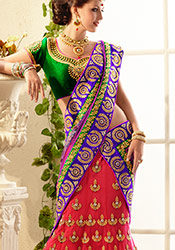 Prodigious Red And Magenta Lehenga Saree