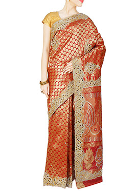 Pure Brocade Silk Red Embellished Saree