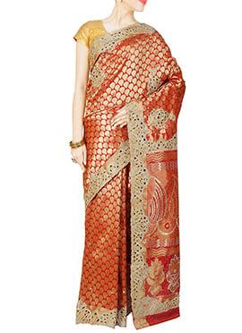 Pure Brocade Silk Red Embellished Saree