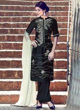 Pure Cotton Satin Black Palazzo Suit