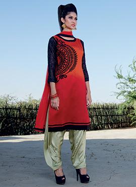 Pure Dupion Silk Ombre Patiala Suit