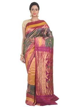 Pure Kanjivaram Silk Multicolored Saree