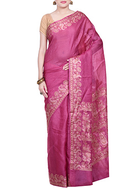 Pure Silk Deep Magenta Embroidered Saree