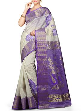 Pure Tussar Silk Off White N Lavender Saree